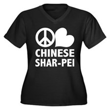 Peace Love Shar-Pei Women's Plus Size V-Neck Dark