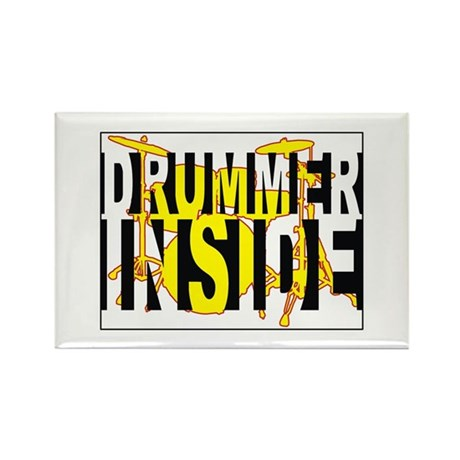 Drummer Inside Rectangle Magnet
