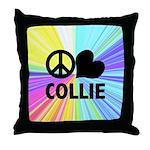 Peace Love Collie Throw Pillow