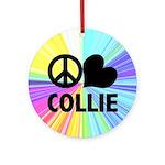 Peace Love Collie Ornament (Round)