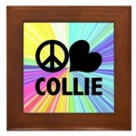 Peace Love Collie Framed Tile