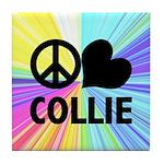 Peace Love Collie Tile Coaster