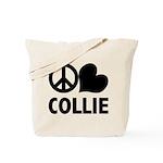 Peace Love Collie Tote Bag