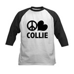 Peace Love Collie Kids Baseball Jersey