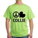 Peace Love Collie Green T-Shirt