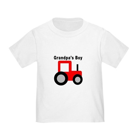 Grandpa's Boy Red Tractor Toddler T-Shirt