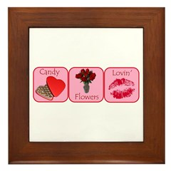 Candy, Flowers, Lovin Framed Tile