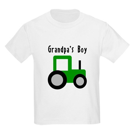 Grandpa's Boy Green Tractor Kids Light T-Shirt