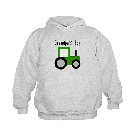 Grandpa's Boy Green Tractor Kids Hoodie