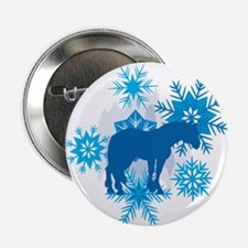 """Clydesdale Snowflakes Holiday 2.25"""" Button"""