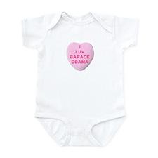 Candy Heart I Love Obama Infant Bodysuit