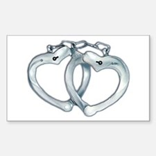 Handcuffed Hearts Rectangle Decal