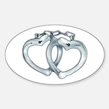 Handcuffed Hearts Oval Decal