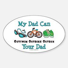 Dad Triathlete Triathlon Oval Decal