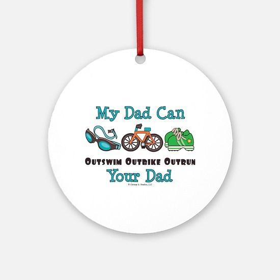 Dad Triathlete Triathlon Ornament (Round)