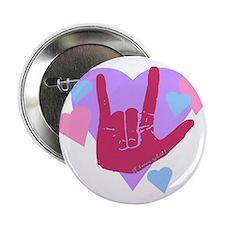 """ILY Hearts 2.25"""" Button"""