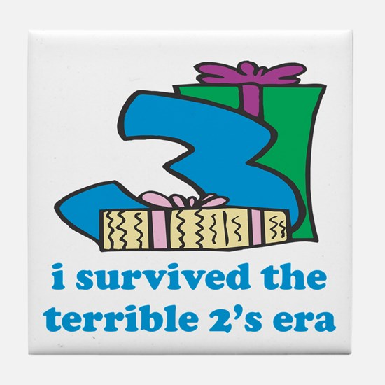 Three: I Survived The Terrible Two's Tile Coaster