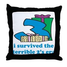 Three: I Survived The Terrible Two's Throw Pillow
