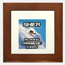 """Skier Playing Paramedic Today"" Framed Tile"