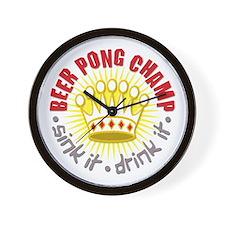 Beer Pong Champ Wall Clock