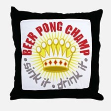 Beer Pong Champ Throw Pillow