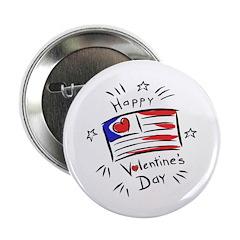 """Patriotic Valentine Flag 2.25"""" Button"""