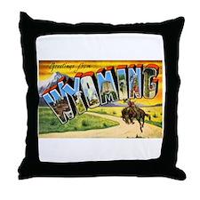 Wyoming Greetings Throw Pillow