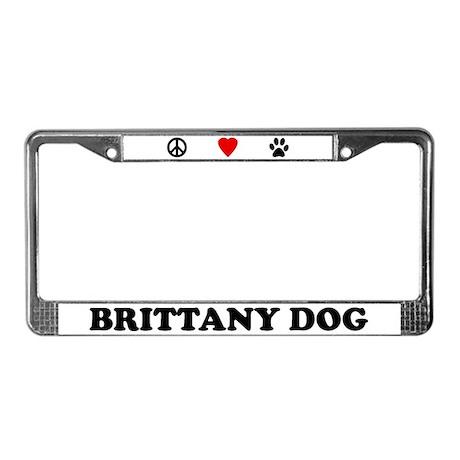 Peace Love Brittany Spaniel License Plate Frame