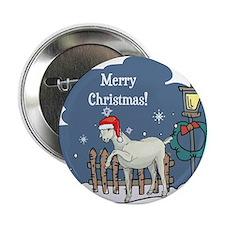 "Santa Goat Christmas 2.25"" Button"