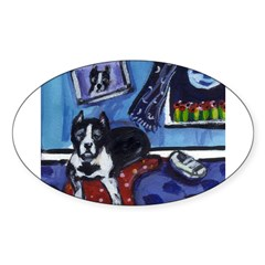 PITBULL TERRIER art Oval Decal