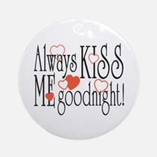 Kiss Me Goodnight Hearts Ornament (Round)