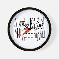 Kiss Me Goodnight Hearts Wall Clock