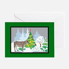 Christmas Tree Jersey Cow Christmas Greeting Card