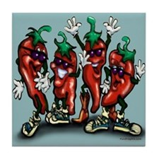 Cute Red hot chili peppers Tile Coaster