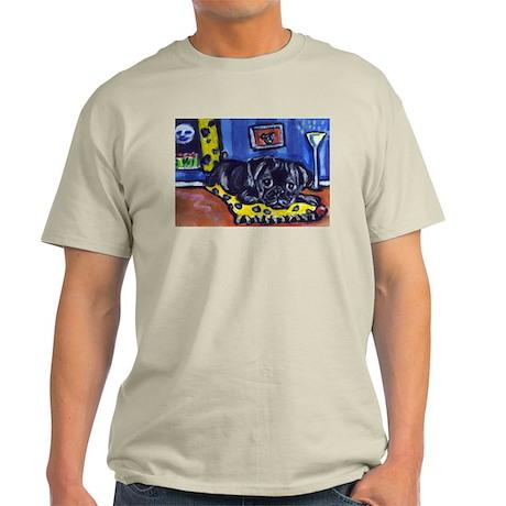 Black pug smiling moon Ash Grey T-Shirt