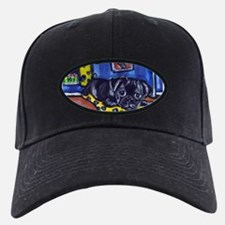Black pug smiling moon Baseball Hat