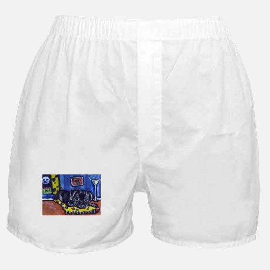 Black pug smiling moon Boxer Shorts