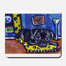 Black pug smiling moon Mousepad