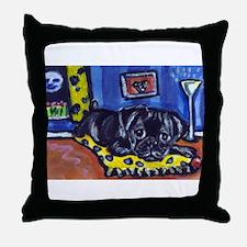 Black pug smiling moon Throw Pillow