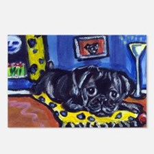 Black pug smiling moon Postcards (Package of 8)