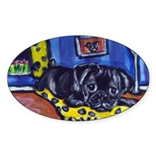 Black pug smiling moon Oval Decal