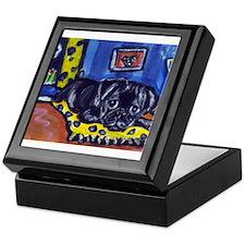 Black pug smiling moon Keepsake Box
