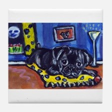 Black pug smiling moon Tile Coaster