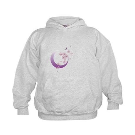 Crescent Moon Cherry Blossoms Kids Hoodie