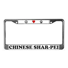 Peace Love Shar-Pei License Plate Frame