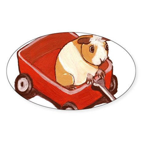 GUINEA PIG~Wagon Tale~LilyKo. Oval Sticker