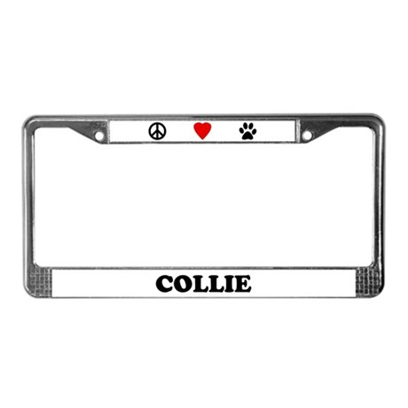 Peace Love Collie License Plate Frame