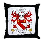 St John Family Crest Throw Pillow