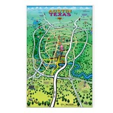 Funny Austin texas cartoon map Postcards (Package of 8)