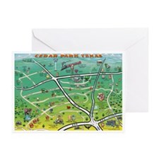 Cartoon map of texas Greeting Cards (Pk of 10)